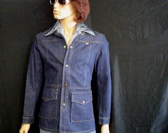 """70s S 36"""" GWG Jean Jacket Leisure Safari Dark Blue"""