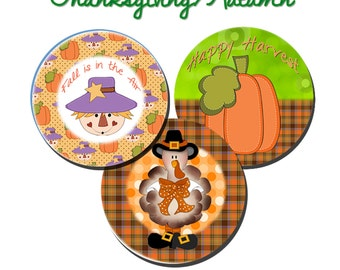 Thanksgiving Autumn Bottle Cap Images Digital Download/Printable File 4x6