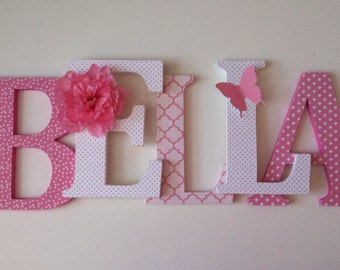 alphabet wooden letters for nursery in pink and white spelling out your childs name letters stand up initial monogram