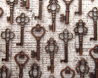 SALE! The Selwyn Collection - Skeleton Key Assortment in Copper- Set of 30 Keys - 3 STYLES