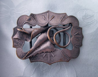 silver plate floral belt buckle -  ornate,