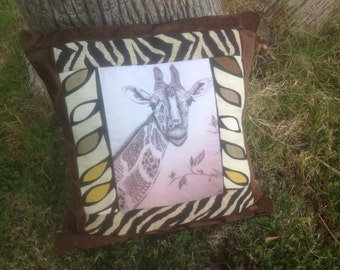 Original Art Transfer Giraffe African Ethnic Pillow Cover