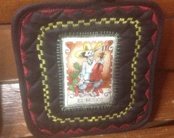 Day of Dead - Dia de Los Muertos - Frida - Black or Red Potholder Set
