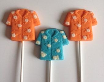 24 HAWAIIAN SHIRT  Chocolate Lollipops Party Favors Luau Hawaiian Summer Birthday Retirement