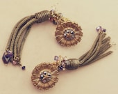Dark fruit: Handmade Antique French Gold Tassle Earrings in Gold, garnet, amethyst and Green, with Opaline & rose gold Swarovski drop,