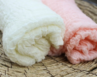 Hand-Dyed Cheesecloth Wraps--Peach and Cream/Ivory Premium Cheesecloth Baby Wraps/Airy Basket Stuffers for Photo Props