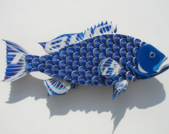 Fish made with Bud Light Bottlecaps Metal Grouper Fish Wall Art