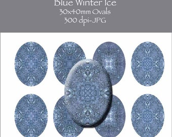 Blue Winter Ice 30x40MM Oval Images INSTANT DOWNLOAD