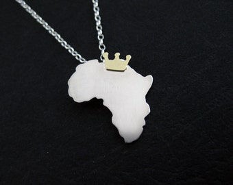Silver African Queen Necklace -  Africa Pendant Necklace - Sterling Silver Africa Continent Jewelry - Africa Love - African Gifts