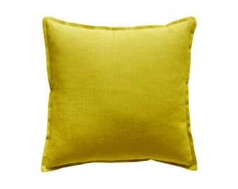 Linen decorative pillow cover Mustard by Lovely Home Idea