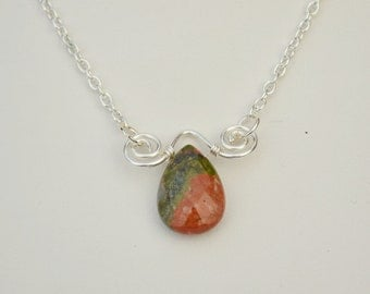 Unakite & Silver Necklace, 17 inch green, coral and silver necklace