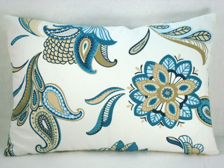 Paisley Blue Lumbar Pillow Mariner Blue Decorative Accent