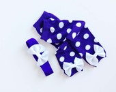 Purple and White pOlka Dotted Baby Leg Warmers and matching Headband