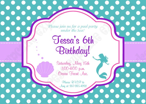 Ariel invitation inspired little mermaid birthday party printable il570xn filmwisefo