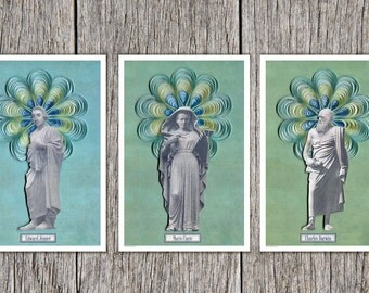 Famous Scientists of the 19th century Poster set Charles Darwin, Marie Curie and Edward Jenner, Scientist poster set, science illustration