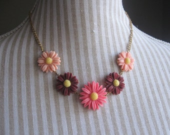 Floral necklace - peach, burgundy and pink daisies on gold tone filigree & chain
