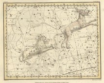 Astronomy decor, Astronomy map, Astrologer, Vintage print, #71