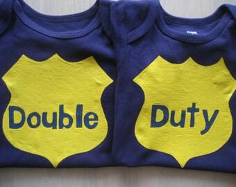Double Duty Twin Navy Blue Onesie Set, Police Officer, Badge Number Onesie, Twin Boys or Girls ,Pink onesie with metallic paints