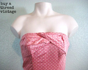 Vintage 50s Pink and White Polka Dot Strapless