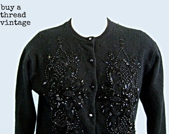 Vintage 60s Black Beaded Cardigan by Jubiani