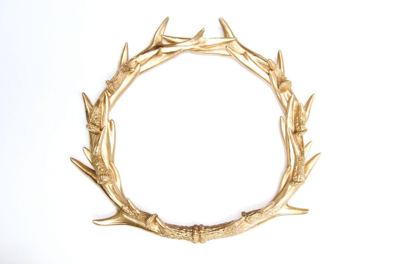 Faux Deer Antler Wreath Gold Stag Antler Wreath Faux