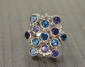 Iolite London Blue Topaz Ring, multi stone cocktail ring - Miro Ring