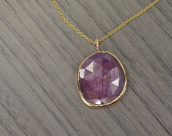 "Token Pendant,14k gold, pink sapphire 10ct rose cut (16"" chain)"