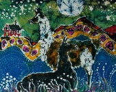 Hills Alive with Llamas  -  batik llama card set   -  4 blank art cards