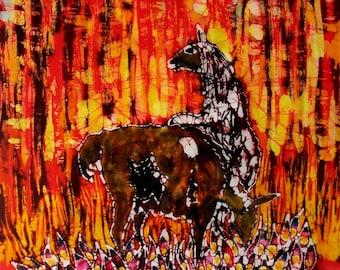 Llamas in Afternoon Light  - Large original batik painting - llama art