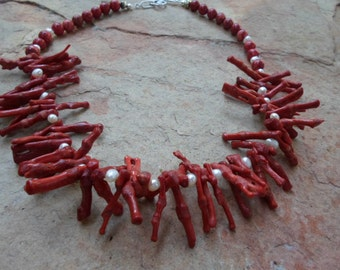 Unique Red Coral and Pearl Choker Necklace