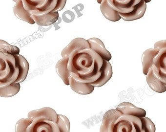 10mm - Dusty Mauve Small Detailed Flower Rose Resin Cabochons, Flower Cabochons, Flower Flatbacks, Rose Shaped, 10mm x 4mm (R1-078)