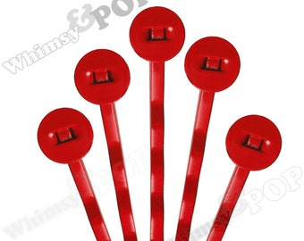 25 PACK - Bobby Pins, Red Bobby Pin Blanks, Painted Bobby Pins, Color Bobby Pins, Bobbie Pins, 50mm wide, 7mm Glue Pad (R7-156)