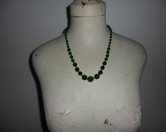 Authentic Vintage Green Hand Knotted Glass Necklace