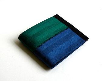 Vegan wallet in dark blue and green - seatbelt billfold wallet