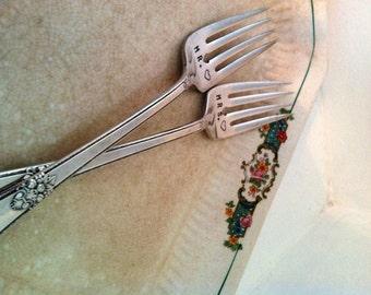 Mr. Mrs. Dessert Forks Vintage Wedding Cake Fork Set Silver-plate Shower Gift Forks Reception