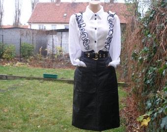 Leather Skirt / Skirt Vintage / Leather Pencil Skirt / Black / Brown Trim / Soft / Size EUR42 / UK14