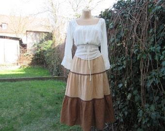 Pretty Cotton Skirt Vintage / Brown / Beige / Size EUR42 / UK14 / Frill / Lining