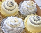 Gray and Yellow Chevron Baby Gift, Burp Cloth Cupcake, Gender Neutral Baby