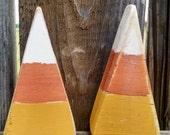 2 Wooden Candy Corn Shelf Sitters