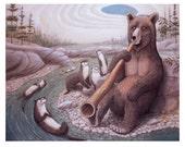 """Brown Bear on Didgeridoo 8"""" x 10"""" print"""