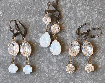 Diamond Opal Rhinestone Earrings Vintage Swarovski White Opal Clear Diamond Oval Earrings Sweeties Dangle Mashugana