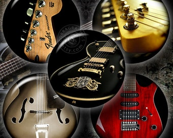 """Guitar - Printable Digital Collage Sheets CG-793C Digital Download for Jewelry Making, Bottle Caps - 1.5"""", 1.25"""", 30mm, 25mm, 1"""" circles-"""