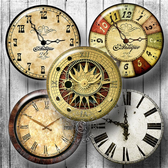Vintage Clocks Digital Collage Sheets by CobraGraphics on Etsy
