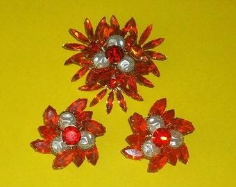 Statement Vintage Judy Lee Pin Earrings Set Mabe Pearl ORANGE RHINESTONES Fall
