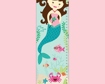 Personalized Mermaid Delight Canvas Growth Chart