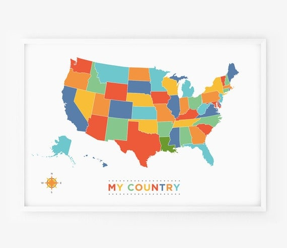usa map art any country map poster my country wall art for. Black Bedroom Furniture Sets. Home Design Ideas
