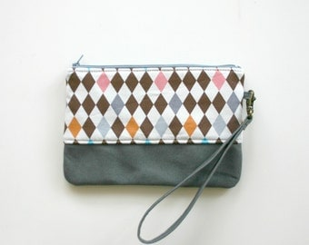 Geometric fabric wristlet Clutch Purse Canvas