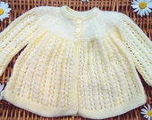 Newborn baby's infants boys girls traditional hand knitted pale yellow lacy lace matinee jacket pram coat sweater
