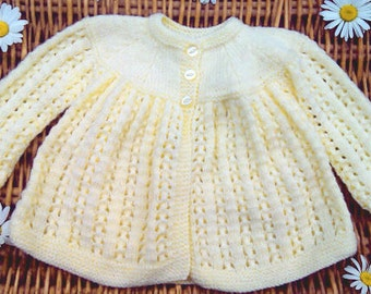 Newborn baby's infants boys girls traditional hand knitted pale yellow lacy lace matinee jacket