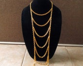 Long bib necklace, gold tone chunky chain, tiered necklace, modern statement necklace